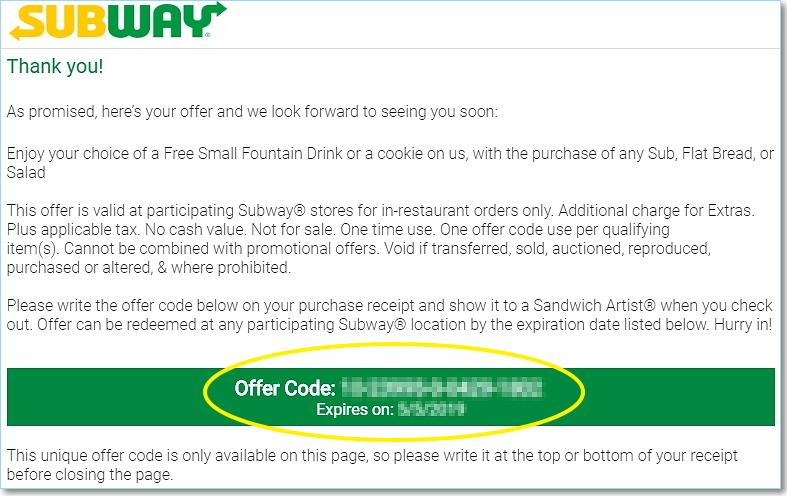 Subway Survey Unique Offer Code